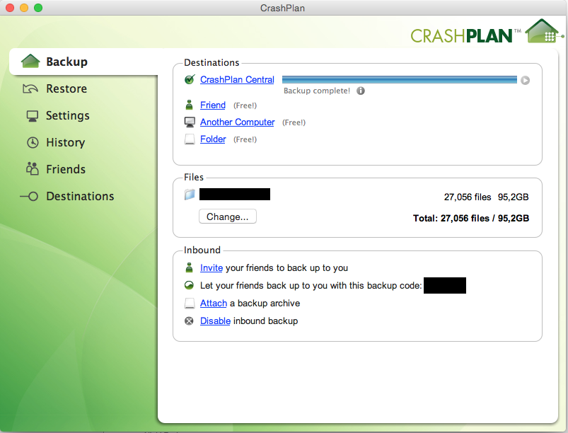 Oversigt over din backup, her vil du se hvor langt den er samt antal af manglende filer