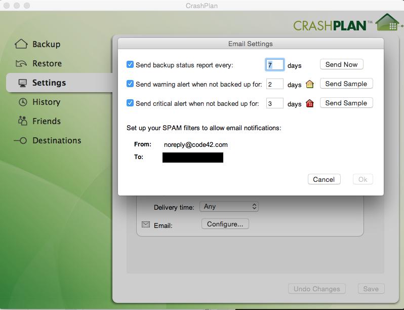 Crashplan kan rapportere dig løbende og advare, hvis du ikke har taget backup længe